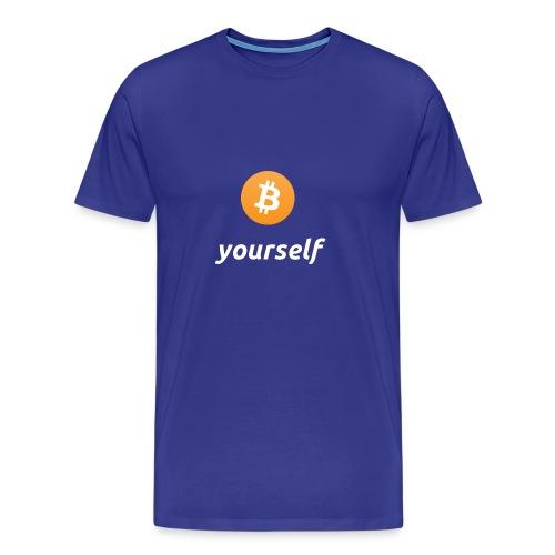 cryptocool b yourself white font -bitcoin logo - Mannen Premium T-shirt