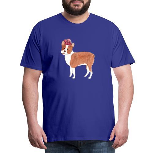 boston terrier with flower - Herre premium T-shirt
