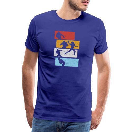 retro streifen football spieler - Männer Premium T-Shirt