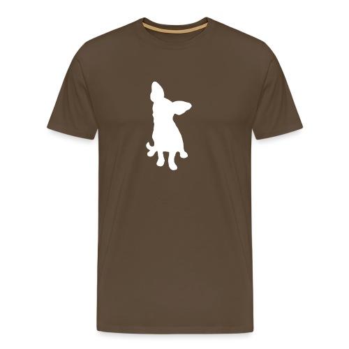Chihuahua istuva valkoinen - Miesten premium t-paita