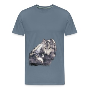 wolf and forest - Camiseta premium hombre