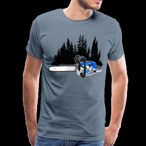 Dein Forstbetrieb - Motorsäge & Wald (Blau) - Männer Premium T-Shirt