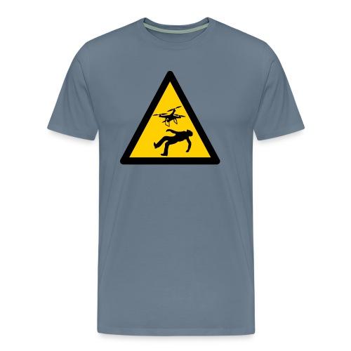 Señal advertencia peligro warning drones - Camiseta premium hombre