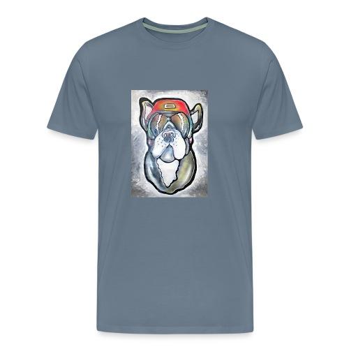 Bulldogge - Hund mit Helm und Sonnenbrille - Männer Premium T-Shirt