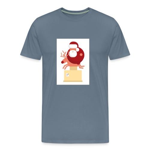 Kerstman op speelgoed rendier - Mannen Premium T-shirt