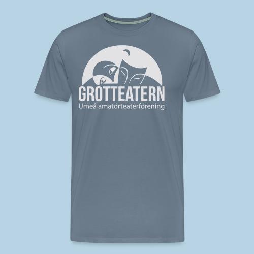 Grotteatern logo Vit - Premium-T-shirt herr