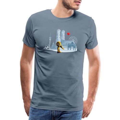 Skyline München mit Münchner Kindl und Herz - Männer Premium T-Shirt