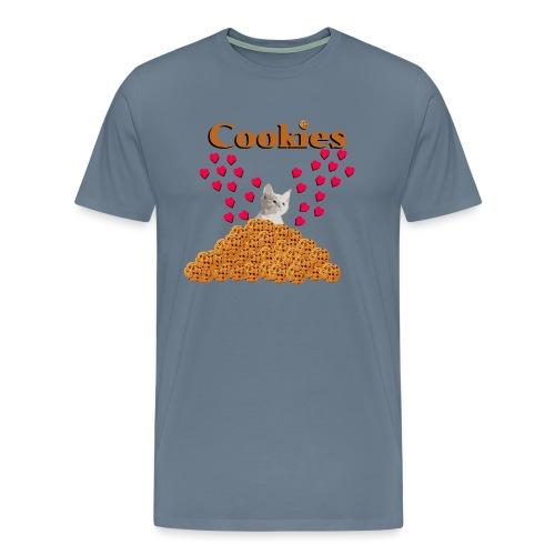 Cookies and cat Cat in biscuits heart - Men's Premium T-Shirt