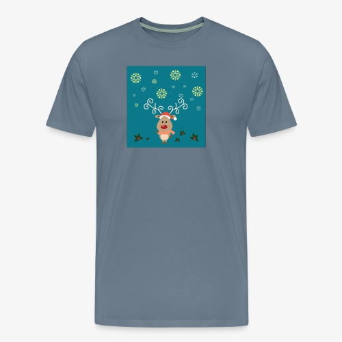 petit cerf fond bleu - T-shirt Premium Homme
