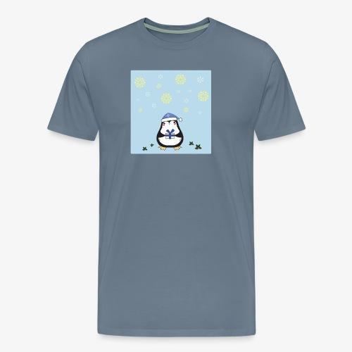 pingouin de Noel sur fond bleu - T-shirt Premium Homme