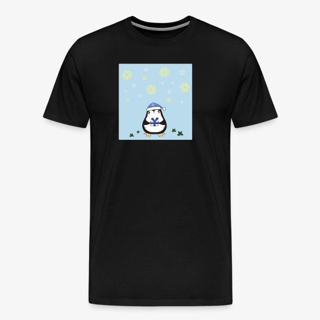 christmas penguin on blue background