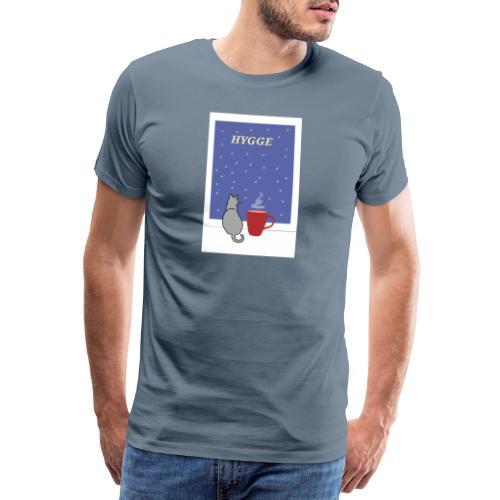HYGGE kot z ciepłym kakao w oknie - Koszulka męska Premium