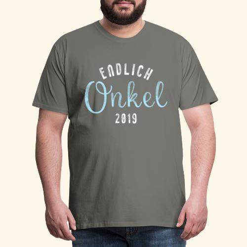 Endlich Onkel 2019 T Shirt - für werdender Onkel - Männer Premium T-Shirt