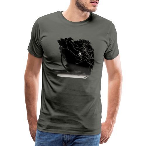 bird in zen circle above water bird on branch Zen - Men's Premium T-Shirt