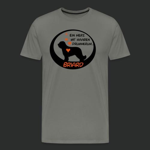 Briard - Herz mit Haaren drumherum - zweifarbig - Männer Premium T-Shirt