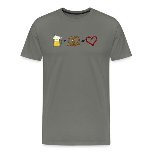 pretzel + beer = love - Men's Premium T-Shirt