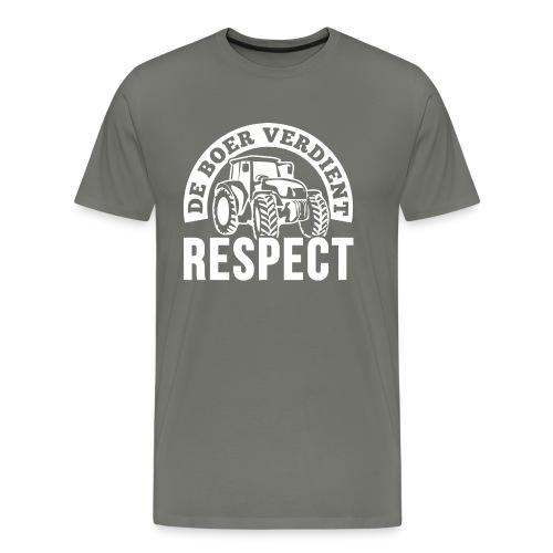 LOGO WIT DeBoerVerdientRespect png - Mannen Premium T-shirt