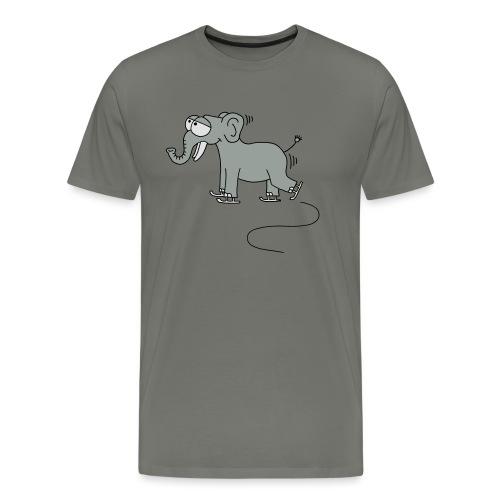 lustiger Elefant beim Schlittschuhfahren, Winter - Männer Premium T-Shirt
