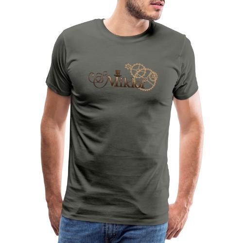 miklof logo gold wood gradient 3000px - Men's Premium T-Shirt
