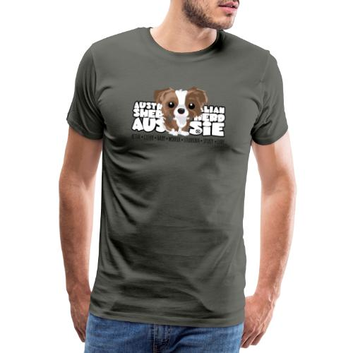 Aussie (Brown Merle) - DGBigHead - Men's Premium T-Shirt