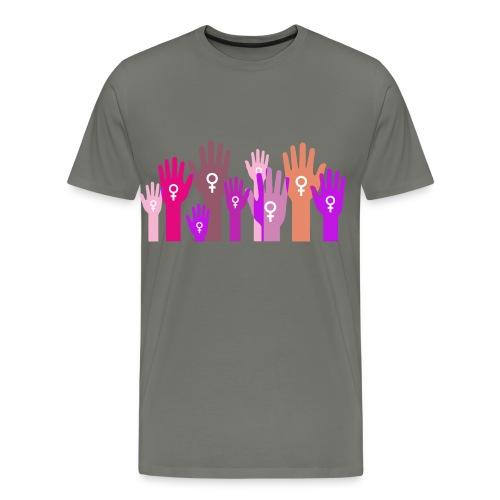 Manos unidas de mujer. - Camiseta premium hombre