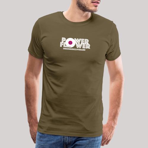 Logo PowerFlower bianco e fuxia - Maglietta Premium da uomo