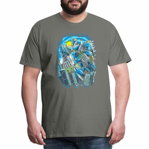 Alien robot attack in the city - Men's Premium T-Shirt