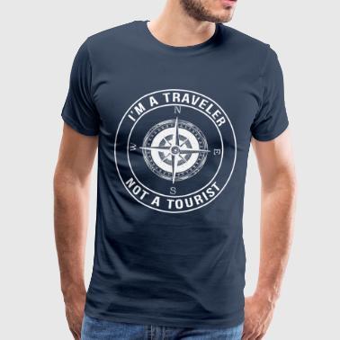 Jeg er en reisende, ikke en turist - Premium T-skjorte for menn