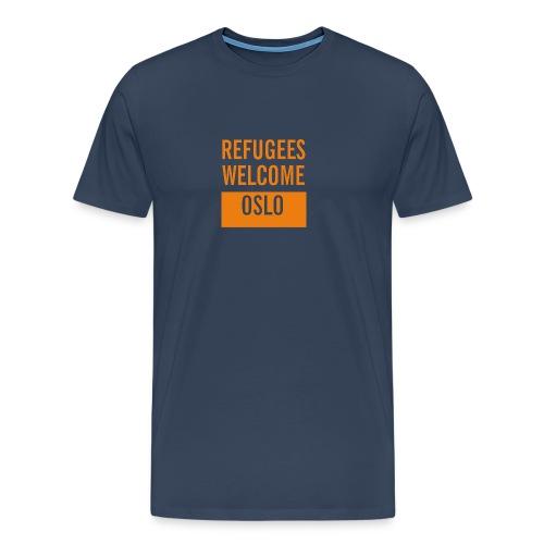 Refugees Welcome Oslo - Premium T-skjorte for menn