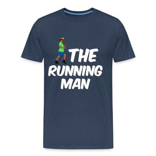 The Running Man Light Blue Shirt White Font - Men's Premium T-Shirt