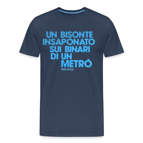 Un bisonte insaponato sui binari di un metrò. - Maglietta Premium da uomo