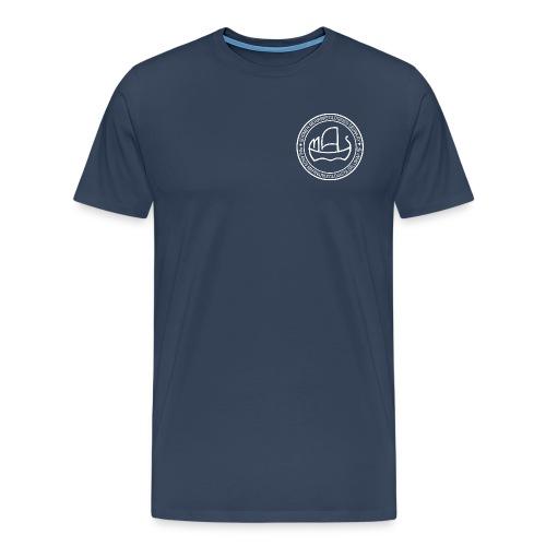 Suomen meriarkeologisen seuran valkoinen logo - Miesten premium t-paita