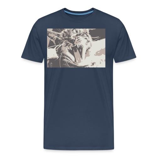 Katze gähnt - süßes Kätzchen gähnen - Männer Premium T-Shirt