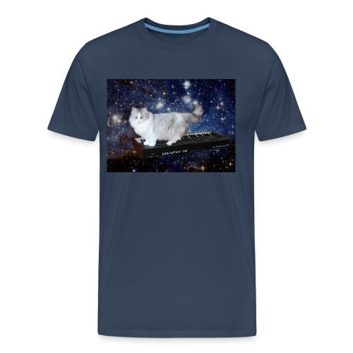 Cat on synthesizer in space p08 - Mannen Premium T-shirt