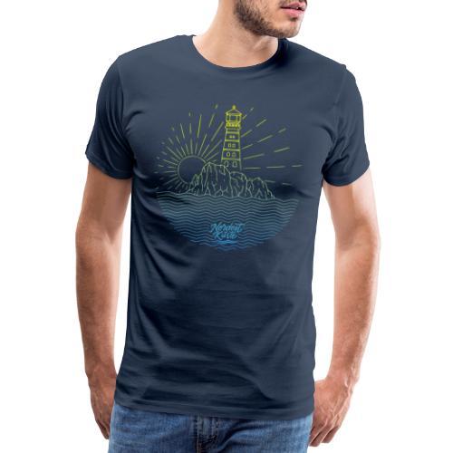 Leuchtturm mit Sonne am Meer - Männer Premium T-Shirt