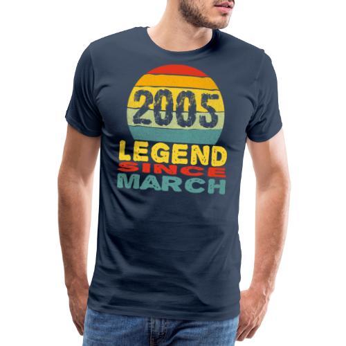 Legend Born in March 2005 Vintage 16th Birthday - T-shirt Premium Homme