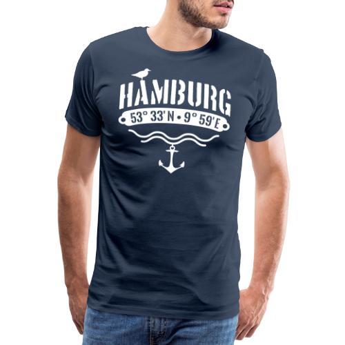 Hamburg Koordinaten Anker Möwe Längengrad - Männer Premium T-Shirt