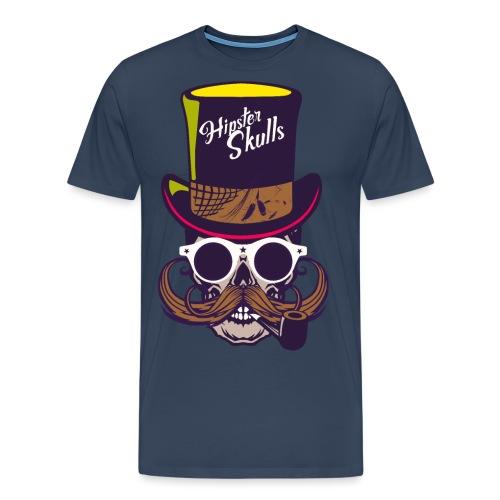 tete de mort crane skull moustache logo pipe lunet - T-shirt Premium Homme