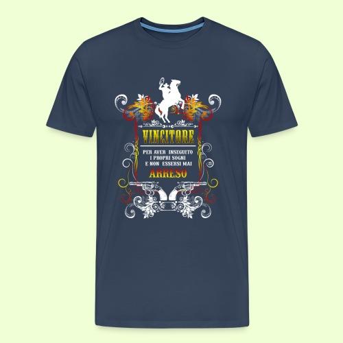 disegno linea Vincitore - Maglietta Premium da uomo