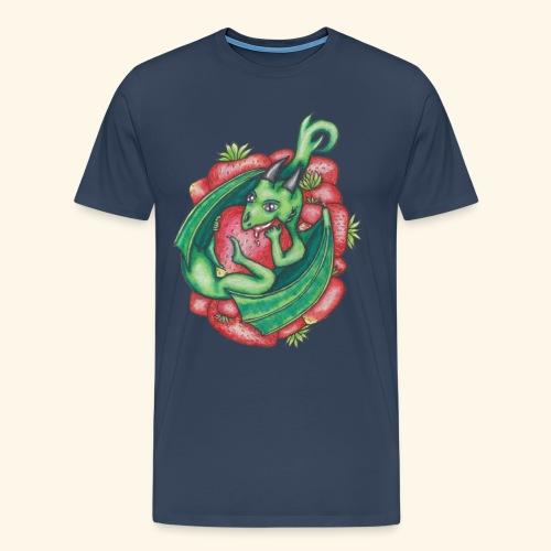 Drake med jordgubbar - Premium-T-shirt herr