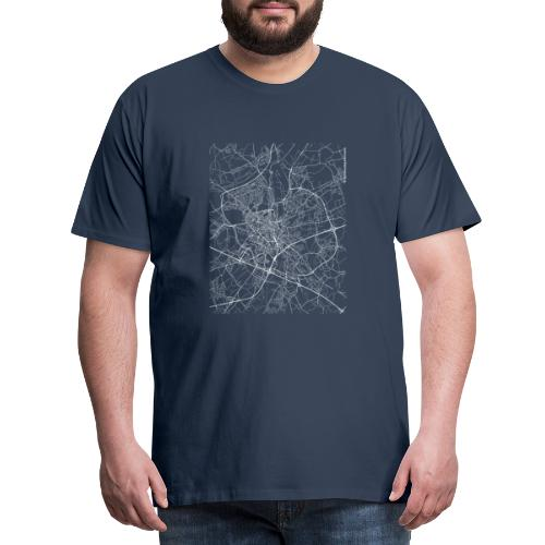 Minimal Ghent city map and streets - Men's Premium T-Shirt