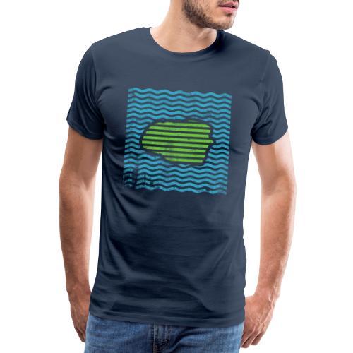 Insel Föhr | Linien Nordsee Meer Geschenk neu blau - Männer Premium T-Shirt