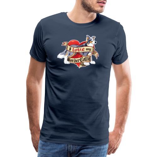 I Love My Border Collie - Merle Tricolor - Men's Premium T-Shirt