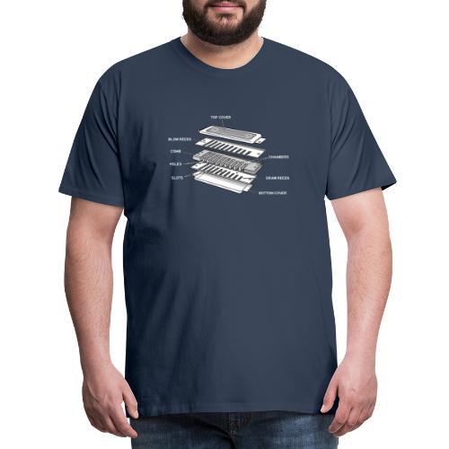 Exploded harmonica - white text - Men's Premium T-Shirt