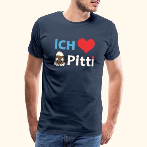 Pittiplatsch Ich liebe Pitti auf dunkel (blau/crem - Männer Premium T-Shirt