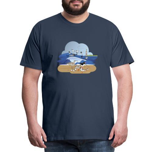 See... birds on the shore - Men's Premium T-Shirt