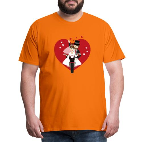 Brautpaar auf dem Motorrad - Rot - Männer Premium T-Shirt