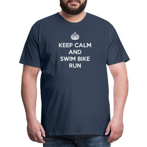 Keep Calm and Swim Bike Run - Koszulka męska Premium