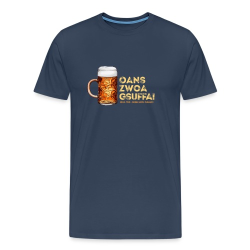 "Masskrug Trinkspruch ""Fans, zwoa, gsuffa! - Männer Premium T-Shirt"