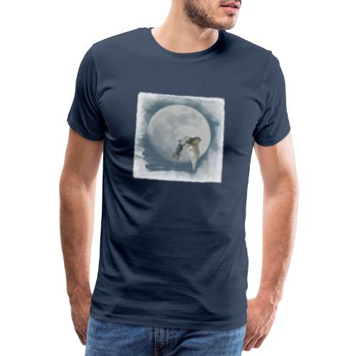 Flying owl full moon watercolor photo art - Men's Premium T-Shirt